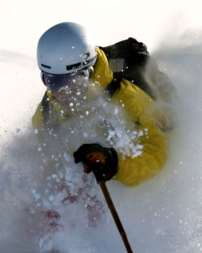 skier with snow on face at La Parva